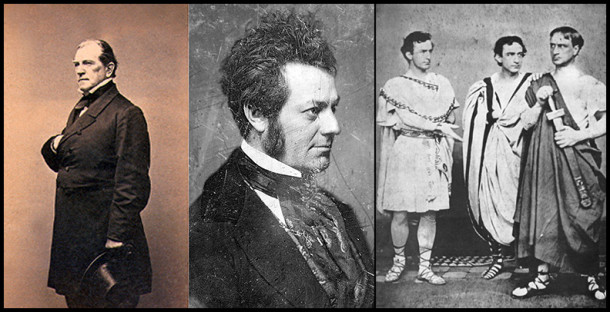 A few notable Shakespearian actors that took the stage in Indianapolis after the construction of the Metropolitan. Left: James Henry Hackett. Middle: Edwin Forrest. Right: In the center, Edwin Booth, flanked by his brothers Junius Jr. (right) and soon to be infamous John Wilkes (left). - Photos from Wikipedia