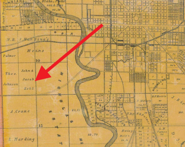 1855 Condit, Wright & Hayden map shows the land that became Rhodius Park was rural then (map courtesy of the Indiana State Library)