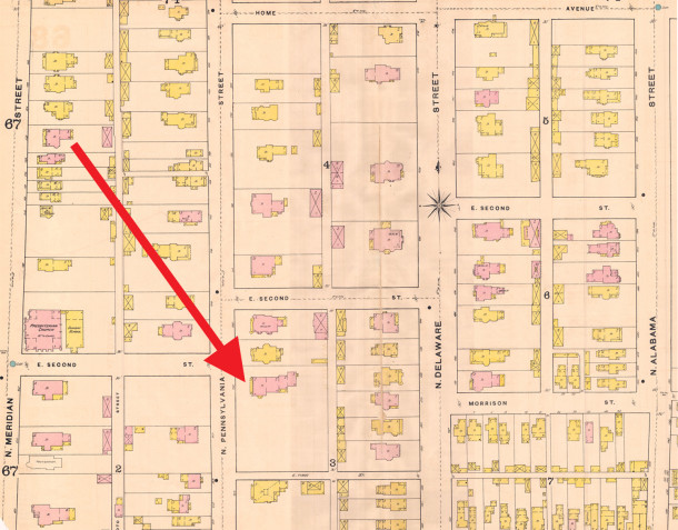 1887 Sanborn Fire Map 68 shows the property started at First (now 10th Street) Map courtesy of IU Digital Archives