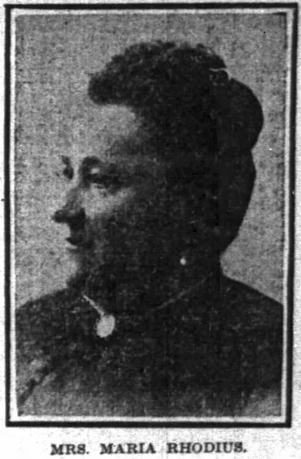 Photo of Maria Rhodius appeared in The Indianapolis News on November 15, 1905 (scan courtesy of newspapers.com)