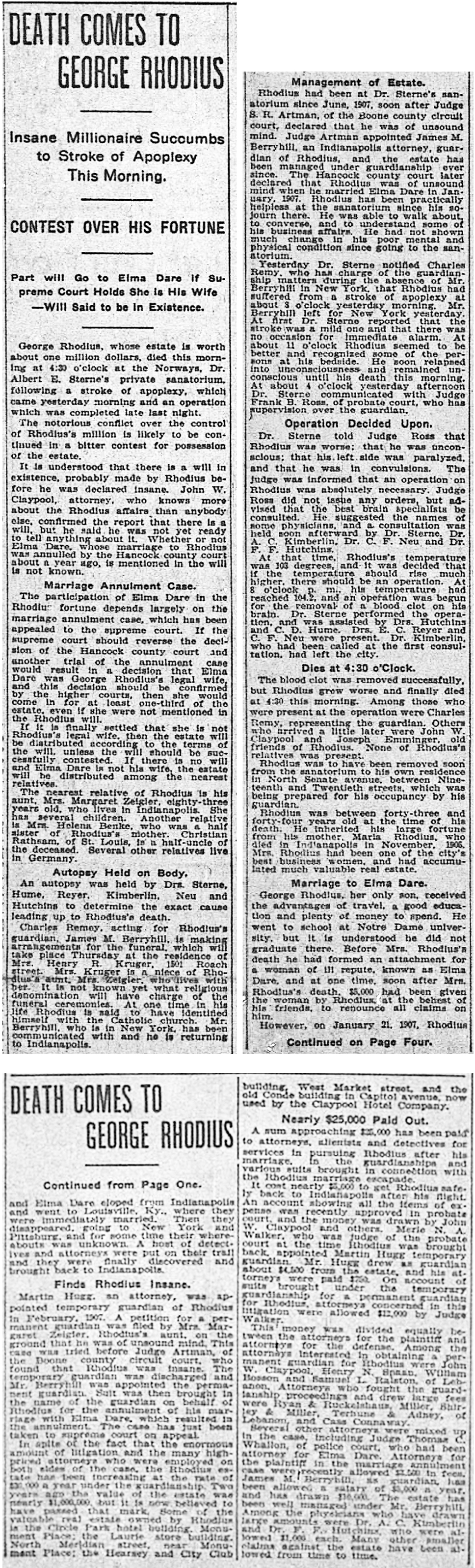 (December 30, 1909 Indianapolis Star scan courtesy of newspapers.com) CLICK TO ENLARGE