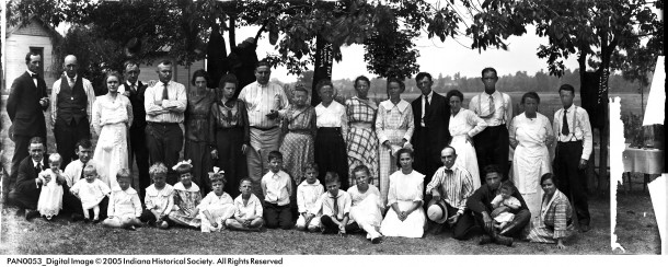 Family Reunions often center around a picnic meal. The Wolf Family is seen here, circa 1919. Image: courtesy the Indiana Historical Society