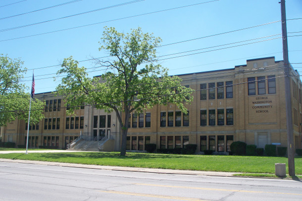 The nearest Indianapolis high school is George Washington Community School (photograph by Sharon Butsch Freeland)