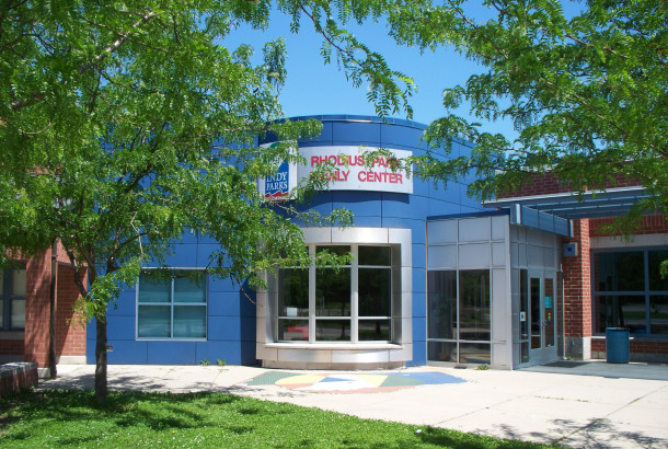 The Rhodius Park Family Center is attached to and share space with IPS School 49 (photo by Sharon Butsch Freeland)