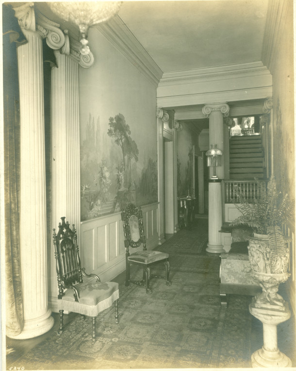 The center hall of the Ovid Butler Jameson House ran the entire length of the house, from front to back (photo courtesy of Patricia Jameson Acheson Cochran)