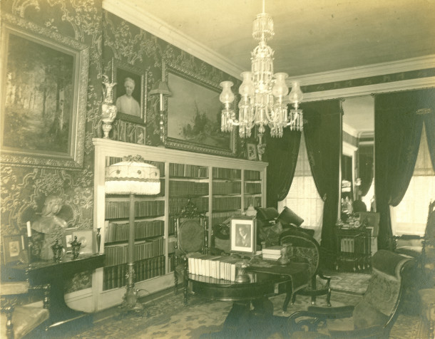 The Ovid Butler Jameson House's library was the meeting place for intellectual discussiions (photo courtesy of Patricia Jameson Acheson Cochran)
