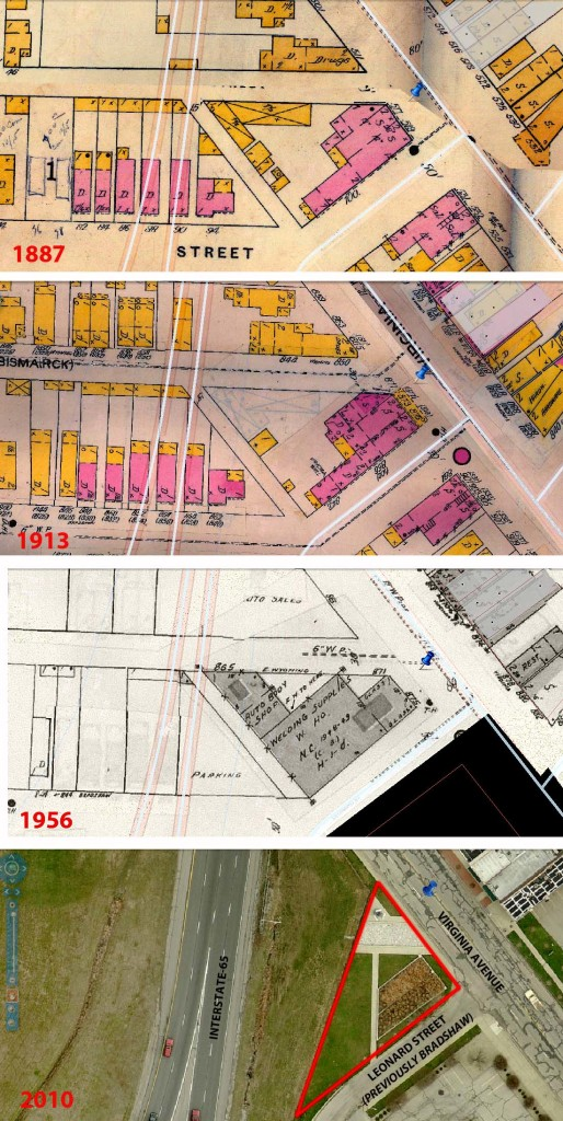 This series shows the progression of the Fountain Square Gateway Park from 1887 to the present. (Sanborn Fire Insurance Maps courtesy of IUPUI University Library. 2010 aerial photograph from MapIndy, City of Indianapolis)