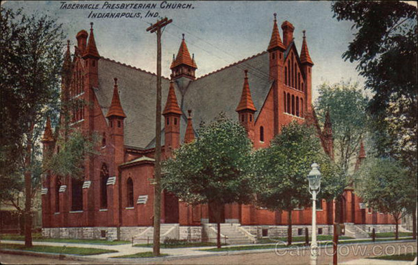 From 1883 to 1923, Tabernacle Presbyterian Church was located on the northeast corner of 11th and Meridian Streets (postcard image courtesy of CardCow.com)