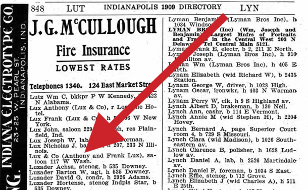 1909 Indianapolis City Directory shows Lux & Co. saloon at 117 West Washington Street (image courtesy of ancestry.com)