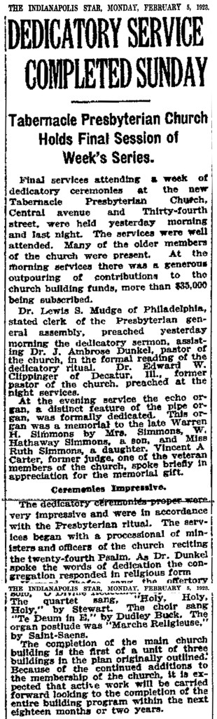 The February 5, 1923, edition of The Indianapolis Star reported on the dedication of Tabernacle's new building (scan courtesy of NewspaperArchive.com)