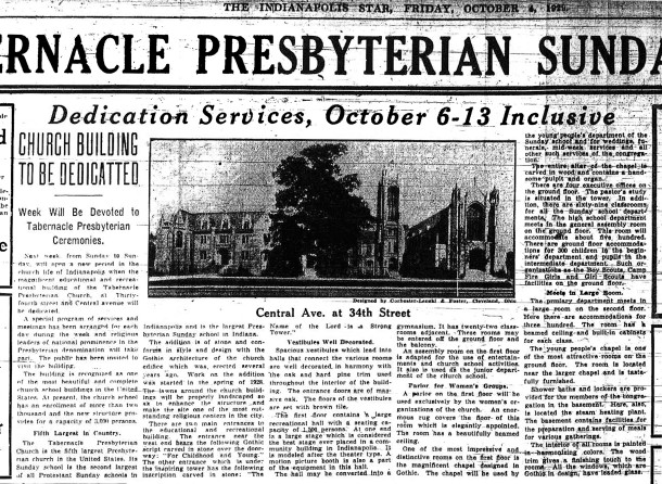 The October 4, 1929 edition of The Indianapolis Star described dedication of the recreation wing (scan courtesy of the Indianapolis Public Library)
