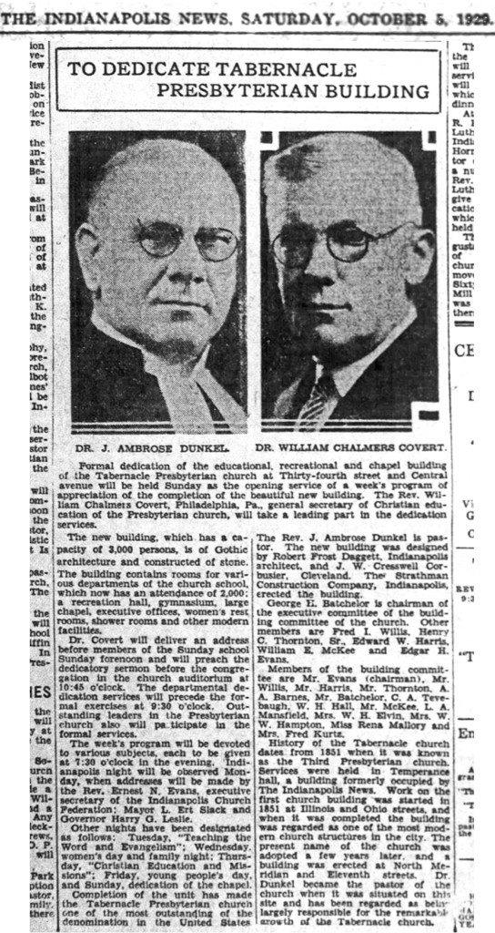The October 5, 1929, edition of The Indianapolis News discussed the dedication of the new additions (scan courtesy of the Indianapolis Public Library)