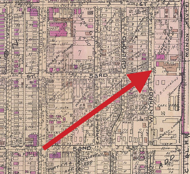 The 1929 Baist map showing the location of Lux Laundry at 5301 North Winthrop Avenue (map courtesy of IUPUI Digital Archives) CLICK TO ENLARGE