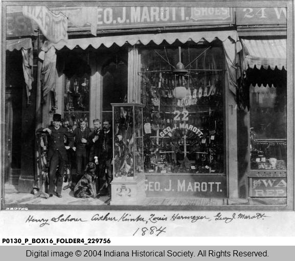 George J. Marott, seen here in front of his shoe store. Marott donated much of the land that now forms Marott Park. Image: courtesy The Bass Collection of the Indiana Historical Society.