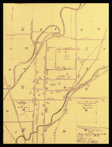 """Drawing of the 1888 Indianapolis """"Sugar Flats"""" by early Indy inhabitant, Howard Johnson. When collecting personal histories, be sure to have pencils and paper handy, just in case!"""