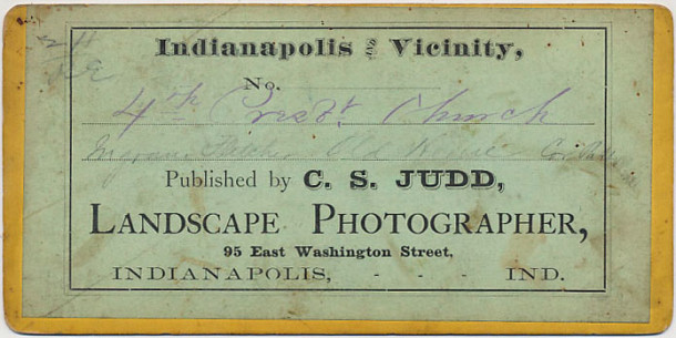 Reverse of stereoview with handwritten identification. (The Indiana Album)