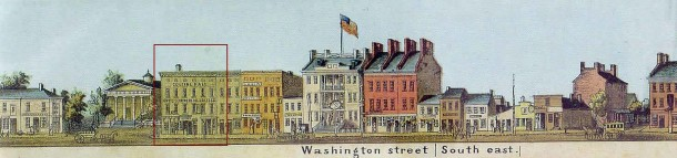 The south side of East Washington Street between Pennsylvania and Meridian Streets. College Hall is outlined in red. (1854 color lithograph View of Indianapolis by James T. Palmatary)