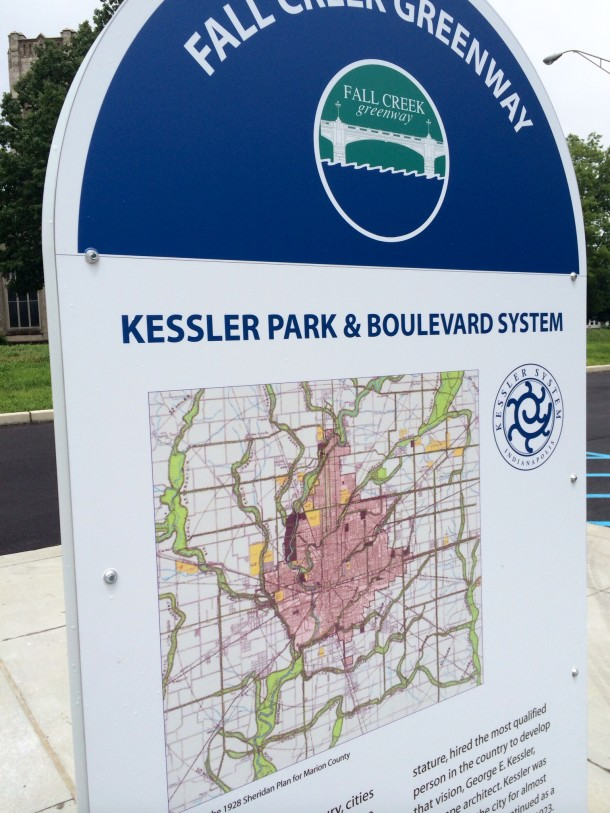 A trip along the Fall Creek Greenway is a history lesson! Plaques along the trail tell the history of the Kessler Park & Boulevard System and other important city events, like the Flood of 1913.