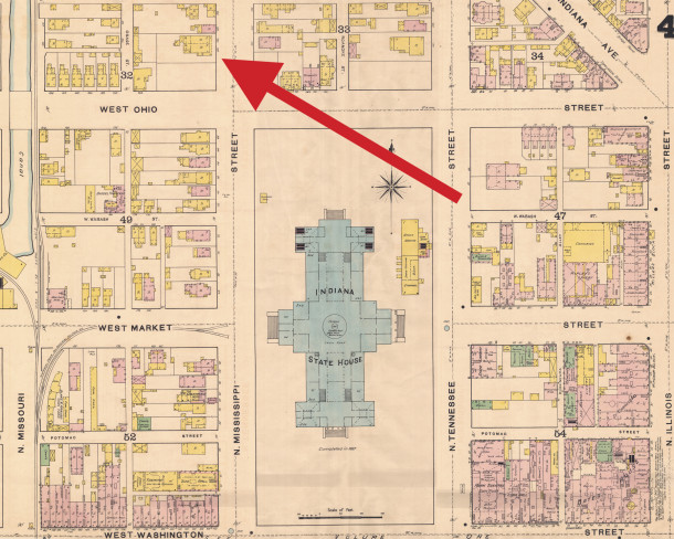 The original location of Protestant Deaconess Hospital was in the former residence of Mayor Thomas Taggart at 118 N. Mississippi Street (now Senate Avenue (1887 Sanborn map courtesy of IU Digital Archives) .