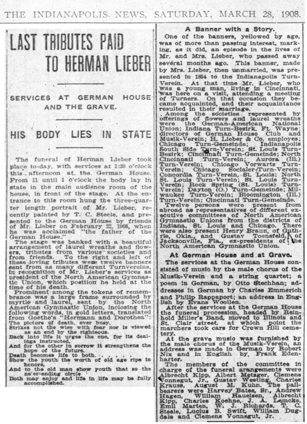 Herman Lieber's March 3, 1928 obituary in The Indianapolis News (scan courtesy of newspapers.com)