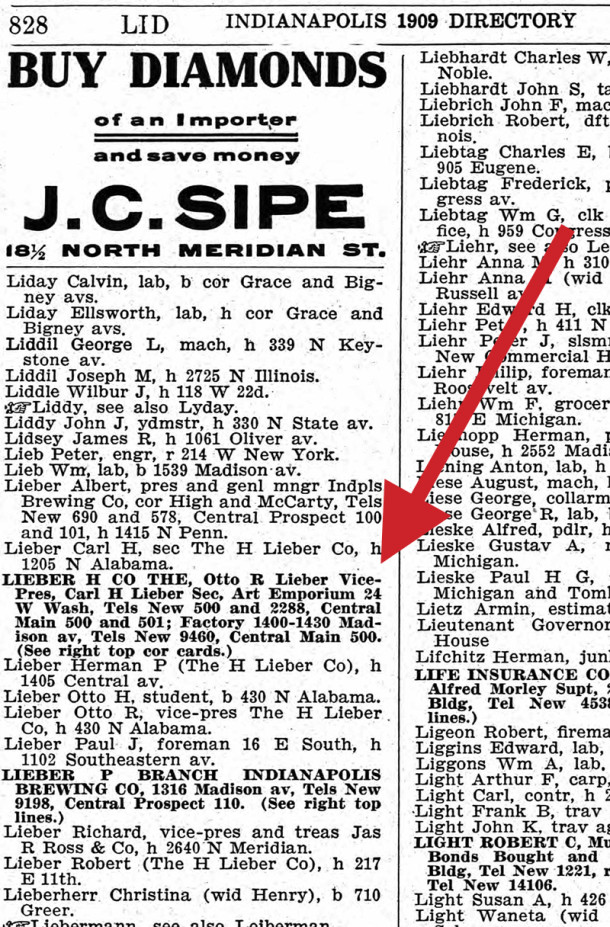 1909 Indianapolis City Directory shows Herman Lieber's sons in leadership positions (scan courtesy of Ancestry.com)