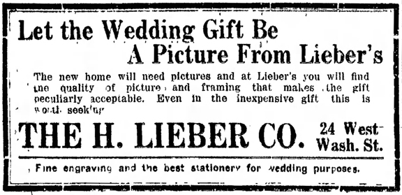 H. Lieber Co. newspaper ad that appeared in The Indianapolis Star on May 8, 1912 (image courtesy of newspapers.com)