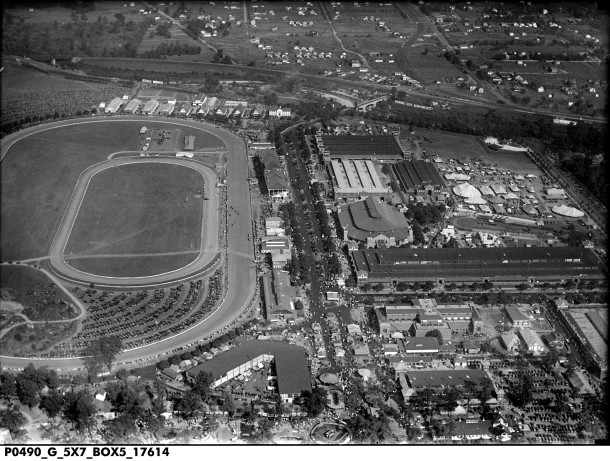 1928 bird's-eye view looking east at the Indiana State Fairgrounds (Indiana Historical Society, J. C. Allen and Son Collection)