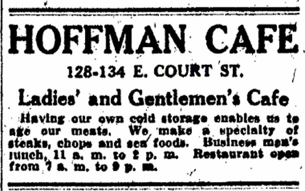 Advertisement for Frank Hoffman's Café (Indianapolis Star, May 24, 1913)