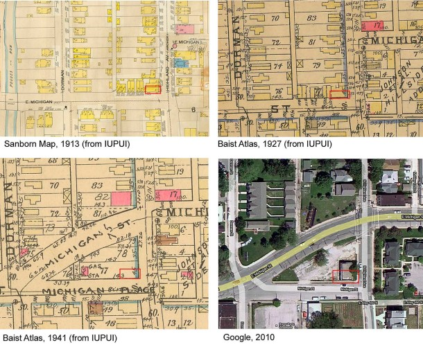 Fire insurance maps and aerial photos visually show the changes to the corner of Highland Avenue and E. Michigan Street. (IUPUI University Library)