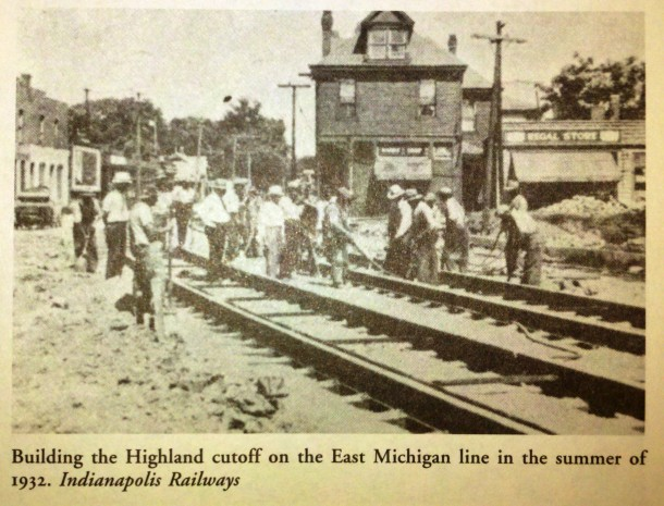 "Looking east on Michigan Street toward Highland Avenue. Photo from ""Indianapolis Railways,"" by Jerry Marlette."