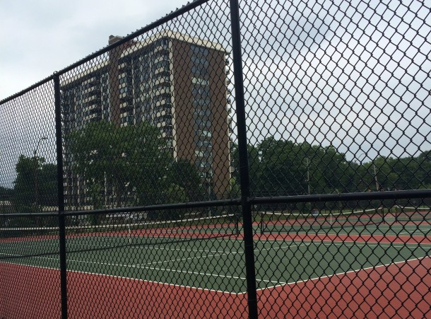 Tarkington Park is a popular place to play tennis. The tennis shelter designed by Jean D. Pierre was torn down in 2011.
