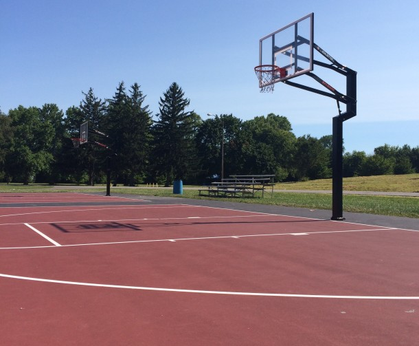 The basketball courts at Washington Park