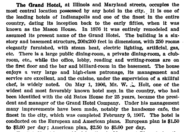 Description of the Grand Hotel in Hyman's Handbook of Indianapolis, 1907.