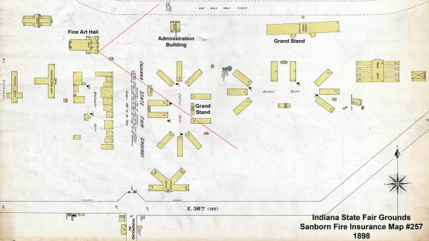 1898 Sanborn Map #257 of the Indiana State Fair Grounds (Courtesy of Indiana University)