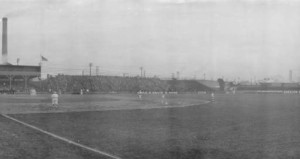 View of the left field bleachers at Washington Park (photo courtesy of the Indiana Historical Society)