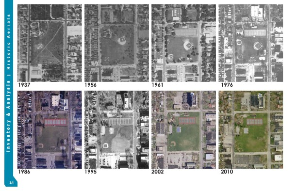 Aerial views of Tarkington Park through the years. Photo courtesy of