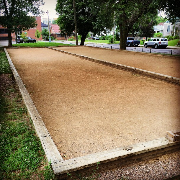 The bocce ball court at Edna Balz Lacy Family Park is where the Historic Italian Society of Indianapolis plays their matches.