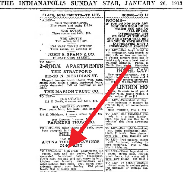 January 26, 1913 ad in The Indianapolis Star (scan courtesy of newspapers.com) CLICK TO ENLARGE