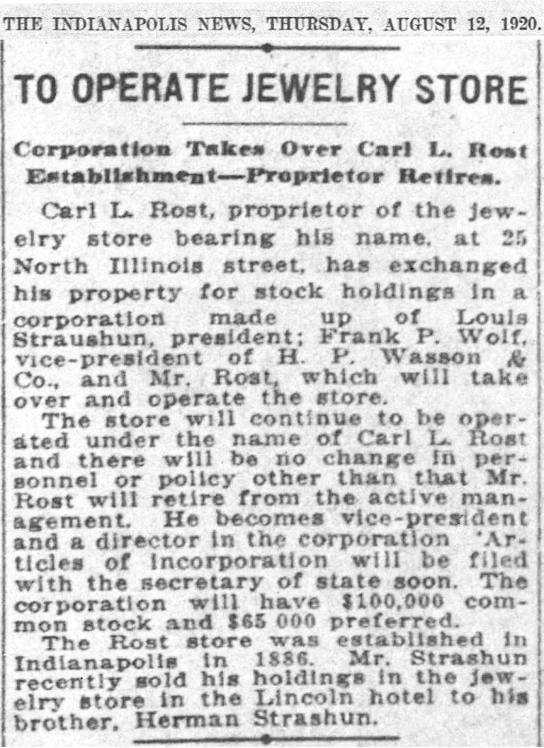 In 1920, Esplanade Annex resident Louis Strashun became an owner of Rost Jewerlers (scan courtesy of newspapers.com)