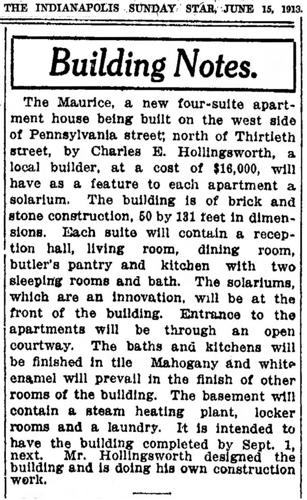 1913 Indianapolis Star article about another project by Charles E. Hollingsworth (scan courtesy of newspapers.com) CLICK TO ENLARGE