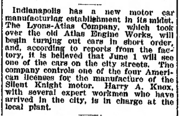 In 1913, Esplanade Annex Harry A. Knox became manager of the new Lyons-Atlas Automobile Company (scan courtesy of newspapers.com)