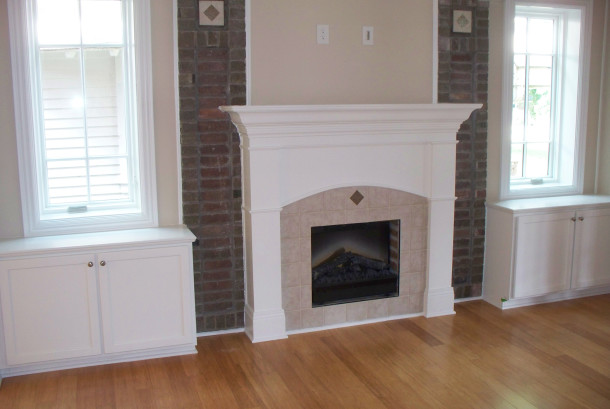 Fireplace in the living room of one of the new condominiums in the Esplanade Annex (photo by Sharon Butsch Freeland)