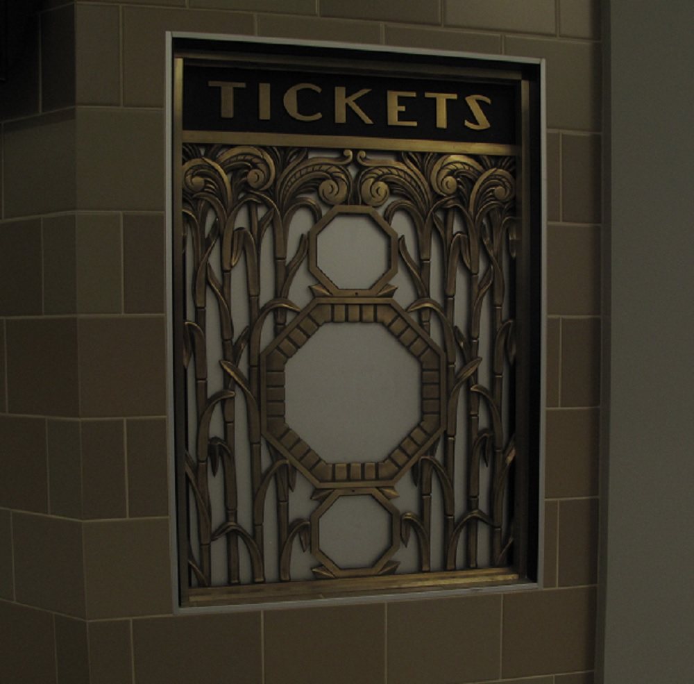 The original art deco ticket windows have been restored in the recent renovation (courtesy of Jeff Kamm)
