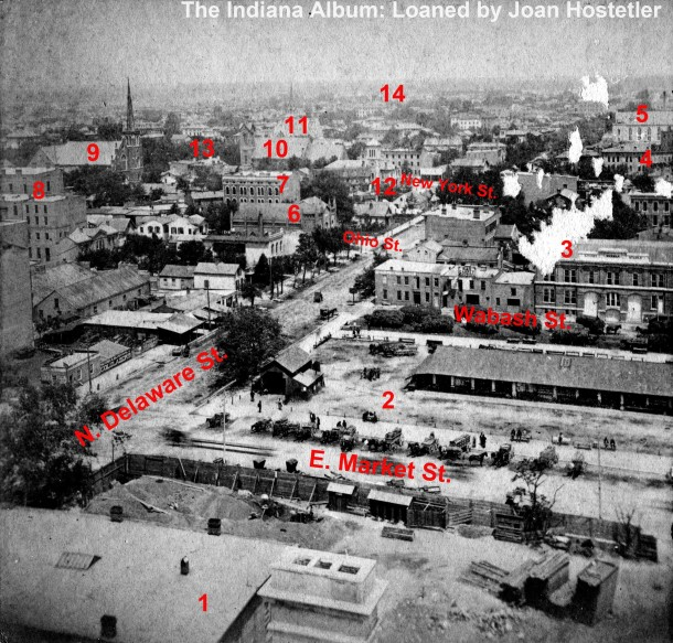 Enhanced and annotated image from the stereoview looking north from the Courthouse.