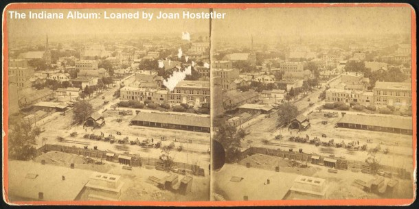 Circa 1876 stereoview looking north from the Marion County Courthouse, by John W. Pendergast (The Indiana Album: Loaned by Joan Hostetler)