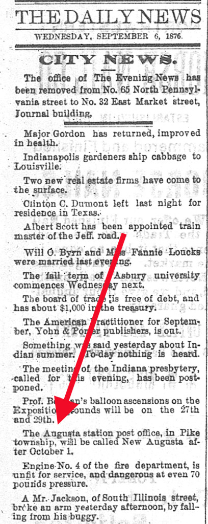 An 1876 Indianapolis Daily News blurb mentioned the renaming of Hosbrook aka Augusta Station to New Augusta (scan courtesy of newspapers.com)