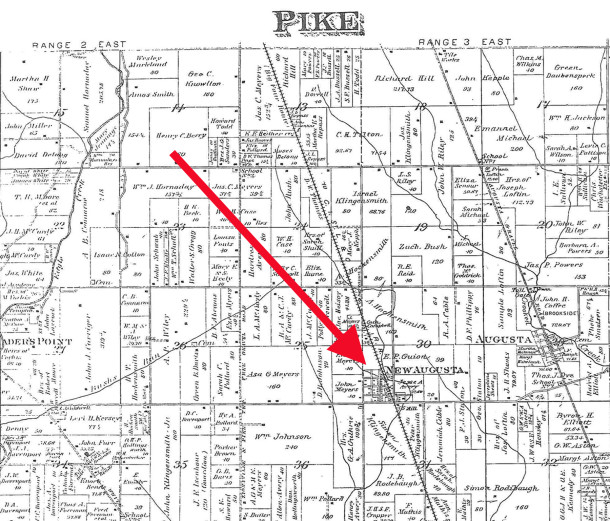 1889 Map of Pike Township shows New Augusta about a mile-and-a-half west of the Michigan Road aka US 421 (map courtesy of the Indiana State Library) CLICK ON MAP TO ENLARGE