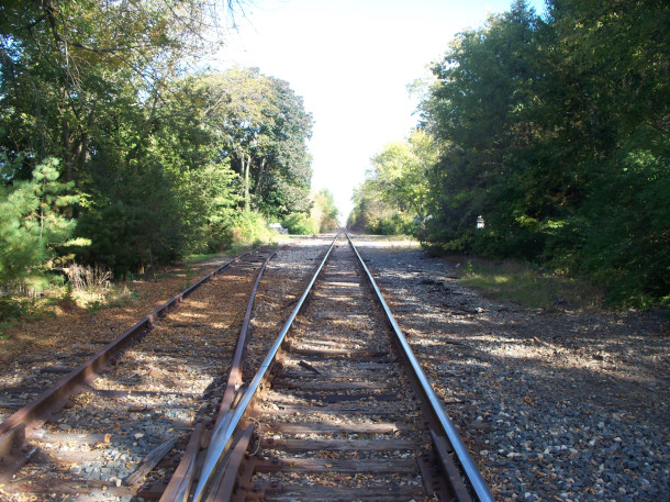 Railroad tracks, looking north from the Augusta Station depot (2014 photo by Sharon Butsch Freeland)