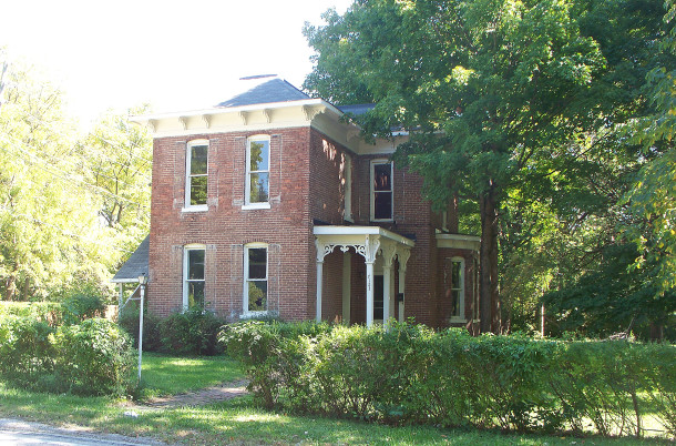 Built circa 1875, the brick Italianate home is the most high-styled residence in New Augusta (2014 photo by Sharon Butsch Freeland)