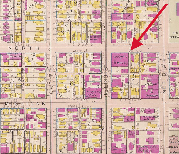 1908 Baist map shows the location of the new Indianapolis Masonic Temple during the year it was constructed (map courtesy of IUPUI Digital Archives) CLICK TO ENLARGE MAP
